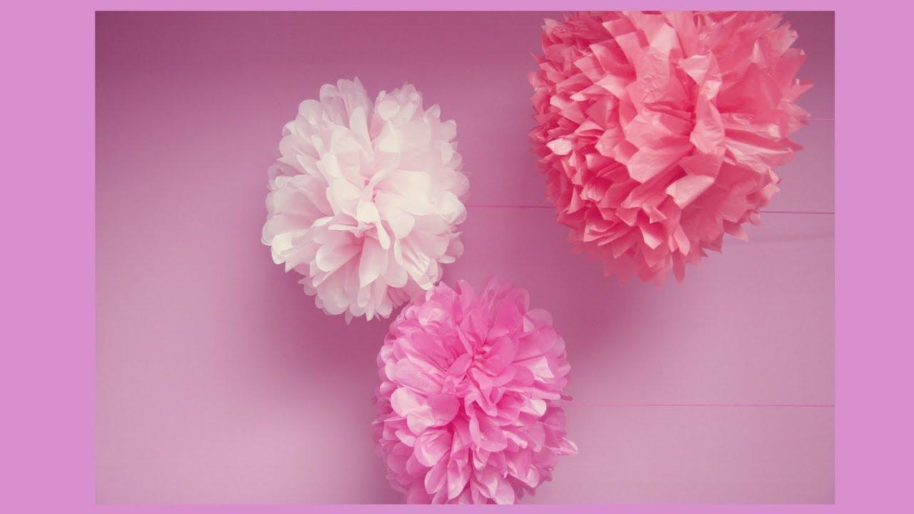 Making tissue paper flowers youtube tissue paper flower puffs giant how to make easy tissue paper flower mightylinksfo