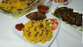 Jinsi ya kupika lunch tamu sana kwa mda mfupi - Wali wa manjano,  samaki wa kukaanga na pilipili 😋😋