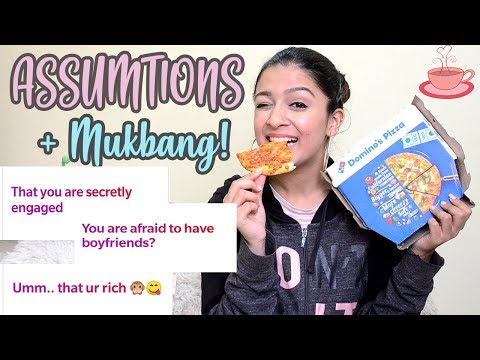 DOMINO'S PIZZA MUKBANG + READING YOUR ASSUMPTIONS ABOUT ME!