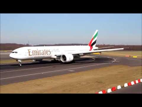 Emirates Boeing 777-300 fast Approach and Landing at Düsseldorf (HD)