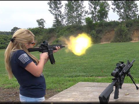 girl shoots AR15 pistol