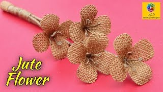 Beautiful flower decoration idea with jute rope   Home Docor Jute Flower   Jute Art and Craft