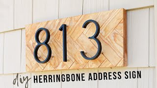 DIY Herringbone Address Sign || Wood House Number Display
