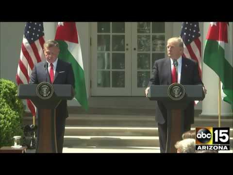 King Abdullah II of Jordan press conference with President Donald Trump