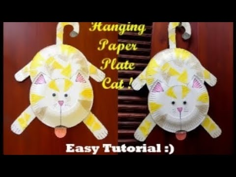 DIY Hanging Paper Plate Cat !! Paper Plate Cat Making ~~ Easy Tutorial / Instructions