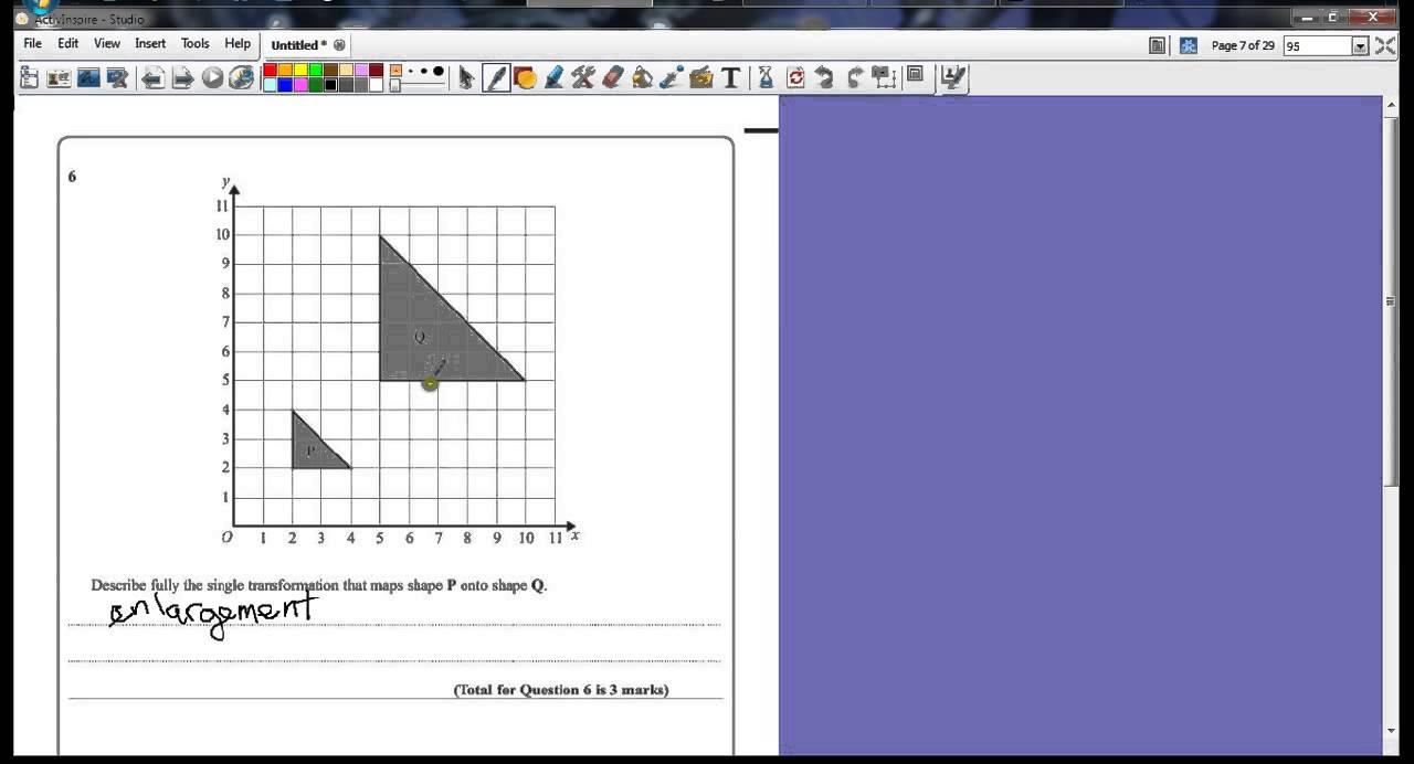 worksheet Transformation Enlargement Worksheet gcse maths november 2012 paper 1h q6 enlargement youtube