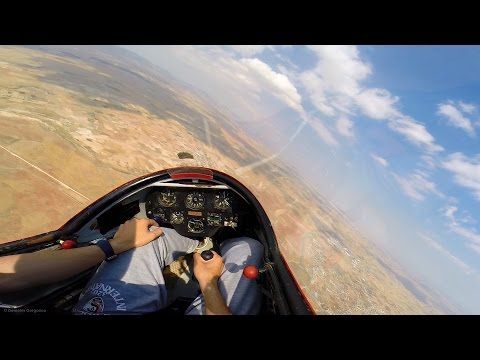 K13 Glider Solo Soaring Flight - Winch Launch, Thermalling, Landing - Cockpit View GoPro