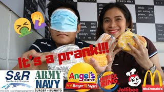Guess the Cheeseburger Challenge PRANK Blindfold Taste Test Ft. My Brother VLOG #2