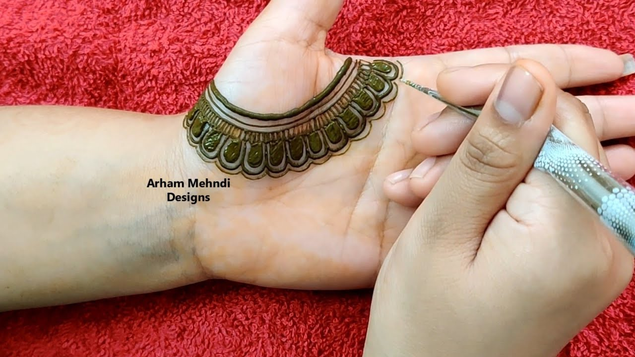 arham mehndi modern front hand mehndi design