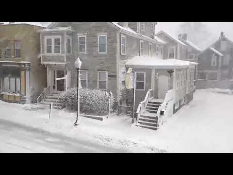 Snowfall on William Street in New Bedford