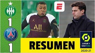 Saint Étienne 1-1 PSG. Mbappé no puede darle los 3 puntos a Pochettino. Neymar, ausente | Ligue 1