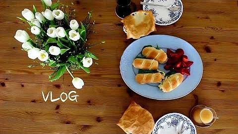 계란 샌드위치와 스프, 딸기 심기, 튤립일상, 카레라이스, 남편과 동네 한바퀴