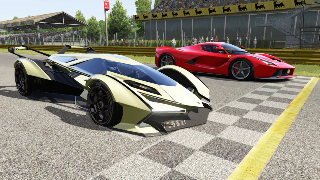 Lamborghini V12 Vision Gt Vs Ferrari Laferrari At Monza Full Course Youtube