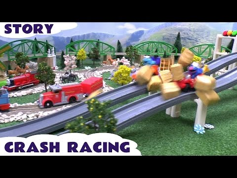 Funny Crash Race Play Doh Sesame Street Thomas and Friends Toy Story Cookie Monster Accident