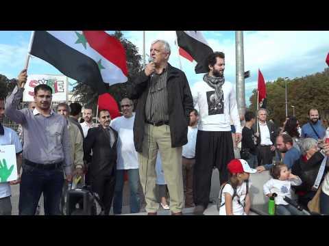 Ueli Leuenberger lors de la Marche mondiale du jasmin pour la liberté du peuple syrien