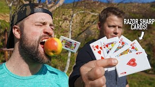 NINJA CARD THROWING TRICK SHOTS BATTLE! Ft. Rick Smith Jr.