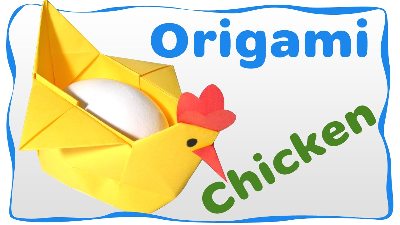 Origami Easter Chicken Container For Egg Easy Instructions Beginners