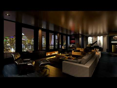 HD Penthouse Apartment Fireplace Screensaver - City Lights at Night - Modern - Fire crackling - 2hrs