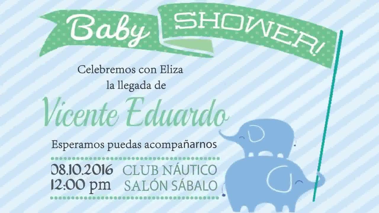 Invitacion Digital Para Babyshower Con Tema De Elefantes Youtube