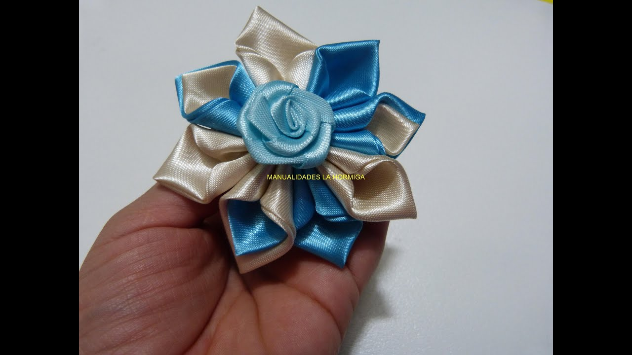 Diy satin ribbon rose satin flower tutorial how to make - Manualidades de tela faciles ...