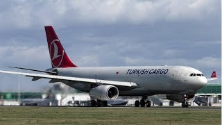 Turkish Cargo Airbus A330F Take Off at Stansted Airport