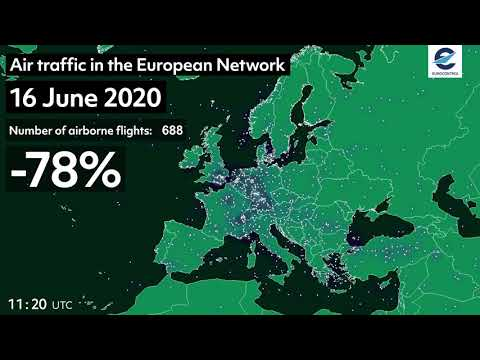 Air traffic in the European Network - 2019 vs 2020