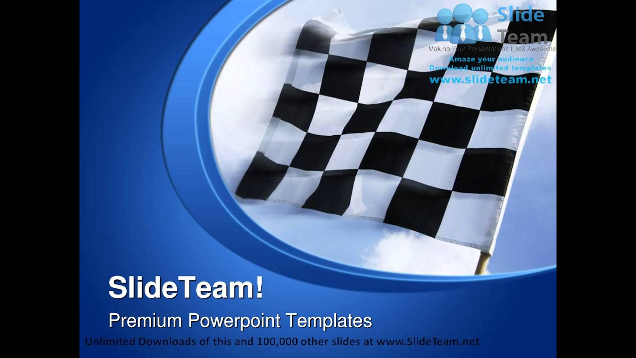 waving flag for start race sports powerpoint templates