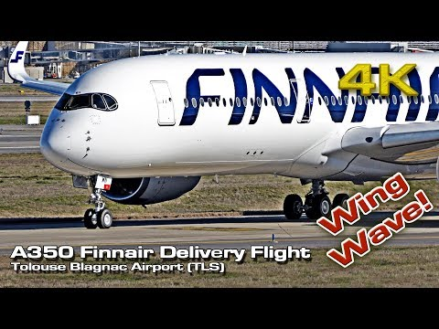 Impressive Wing Wave A350 [4K] Finnair Delivery Flight !(TLS) OH-LWN