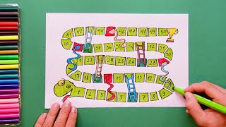 snakes and ladders drawing lesson