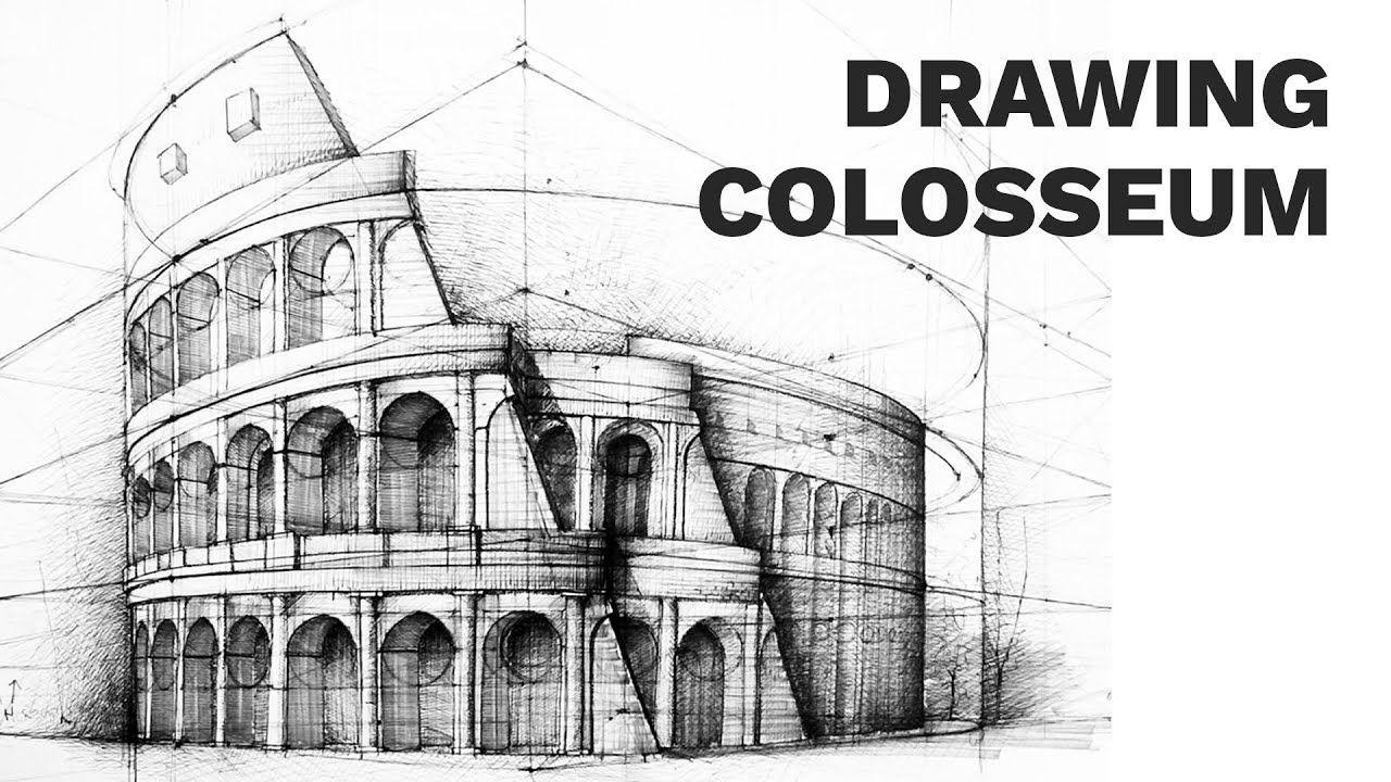 Colosseum perspective drawing 3 famous architecture for Architectural plans of famous buildings