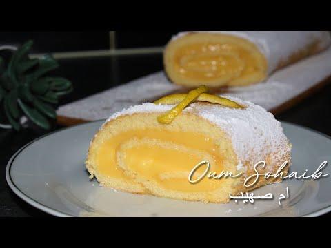 lemon-custard-cake-roll- -gâteau-roulé-au-citron- -بيسكوي-رولي-بكريمة-الليمون