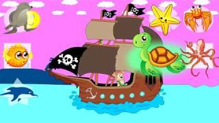 Бублик попрыгунчик на пиратском корабле изучает разных животных Мультик для детей