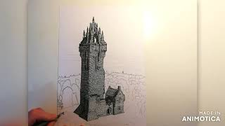 Wallace Monument time lapse drawing