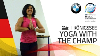 Elana Meyers Taylor teaches yoga to Liva | BMW IBSF World Championships 2017