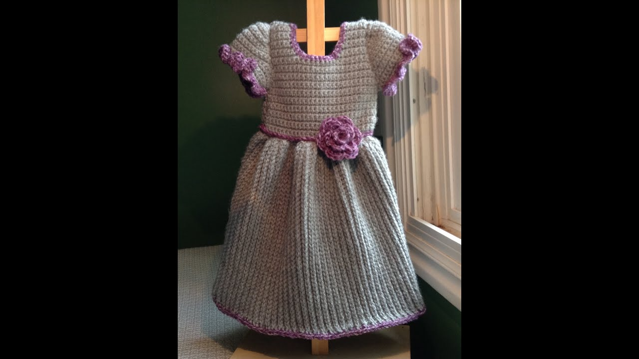 How to Crochet a Baby Dress - Winter, Ribbed Cable Stitch - YouTube