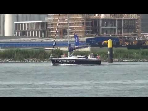 I AMsterdam. Police control on the IJ Harbour.
