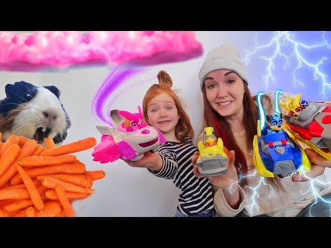 FEEDING MY PETS With PAW Patrol!!  Adley & Mom On A Mission To Find Hidden Food & Help Our Animals!