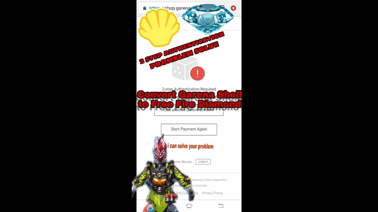 how to Convert Garena Shell to Diamond | step 2 authentication required  problem solve