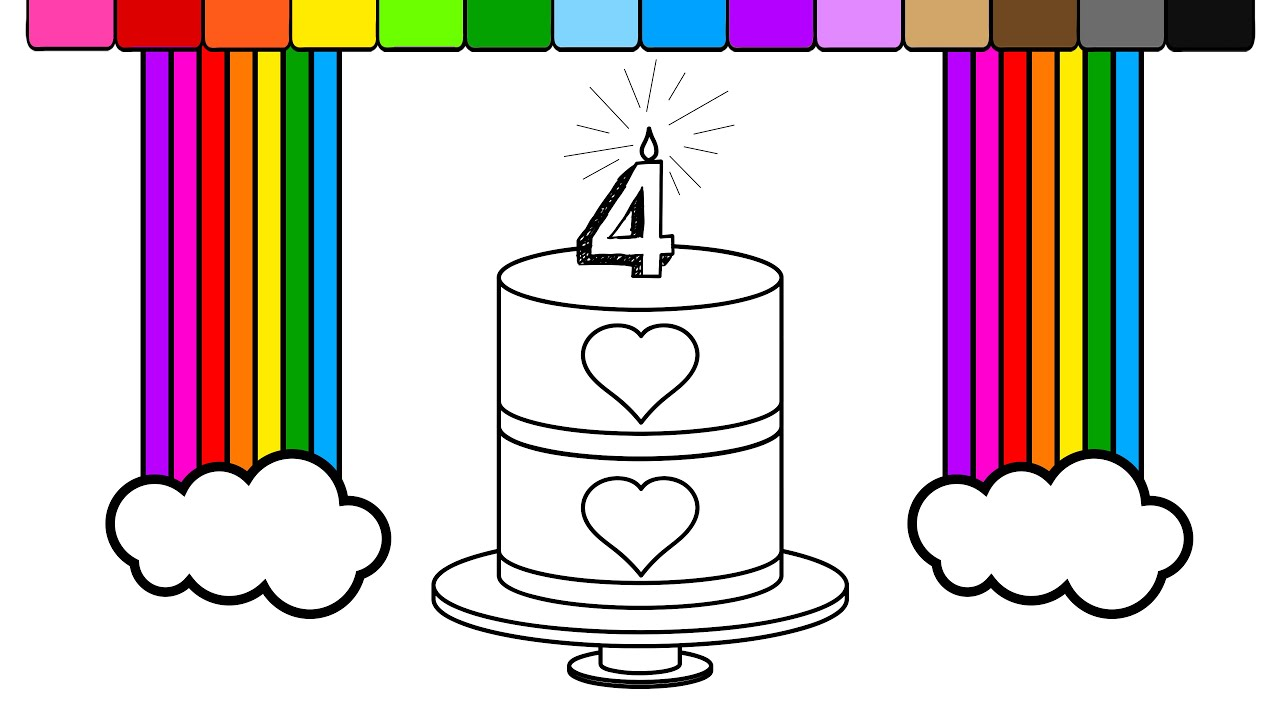 learn colors for kids and color rainbow heart birthday cake