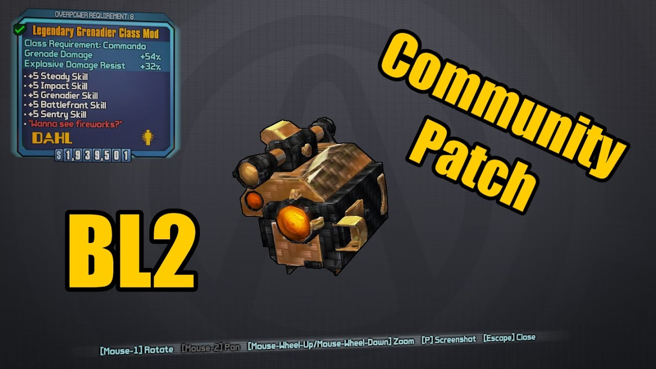 Borderlands 2: Community Patch - Legendary Grenadier And More!