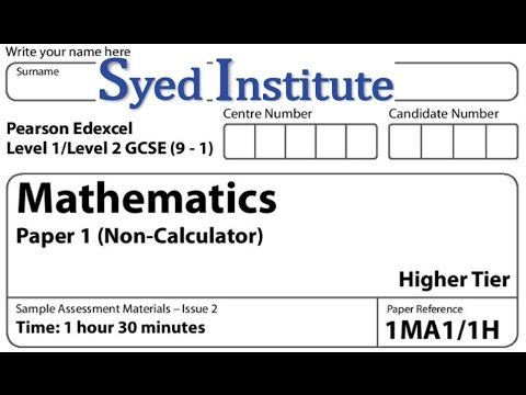 GCSE 9-1 Maths Exam Paper 1 Higher non Calculator | 1MA1/1H Specimen Edexcel