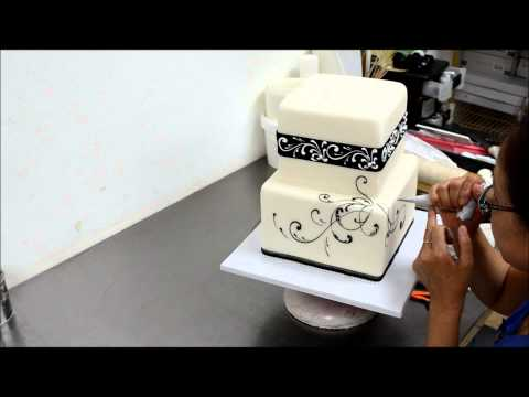 how-to-make-square-black-and-white-wedding-cake