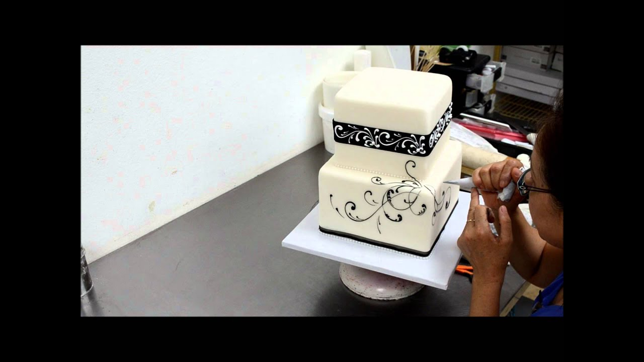 How To Make Square Black And White Wedding Cake