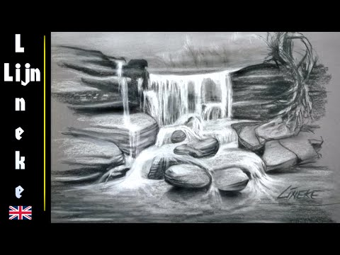 easy waterfall for beginners charcoal drawing asurekazani