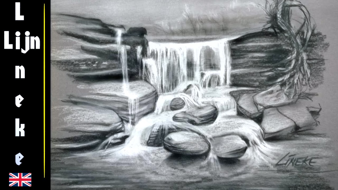 Easy waterfall for beginners charcoal drawing youtube