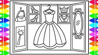 How to Draw a PRINCESS Wardrobe for Kids 💜💖💛 Princess Wardrobe Drawing and Coloring Pages
