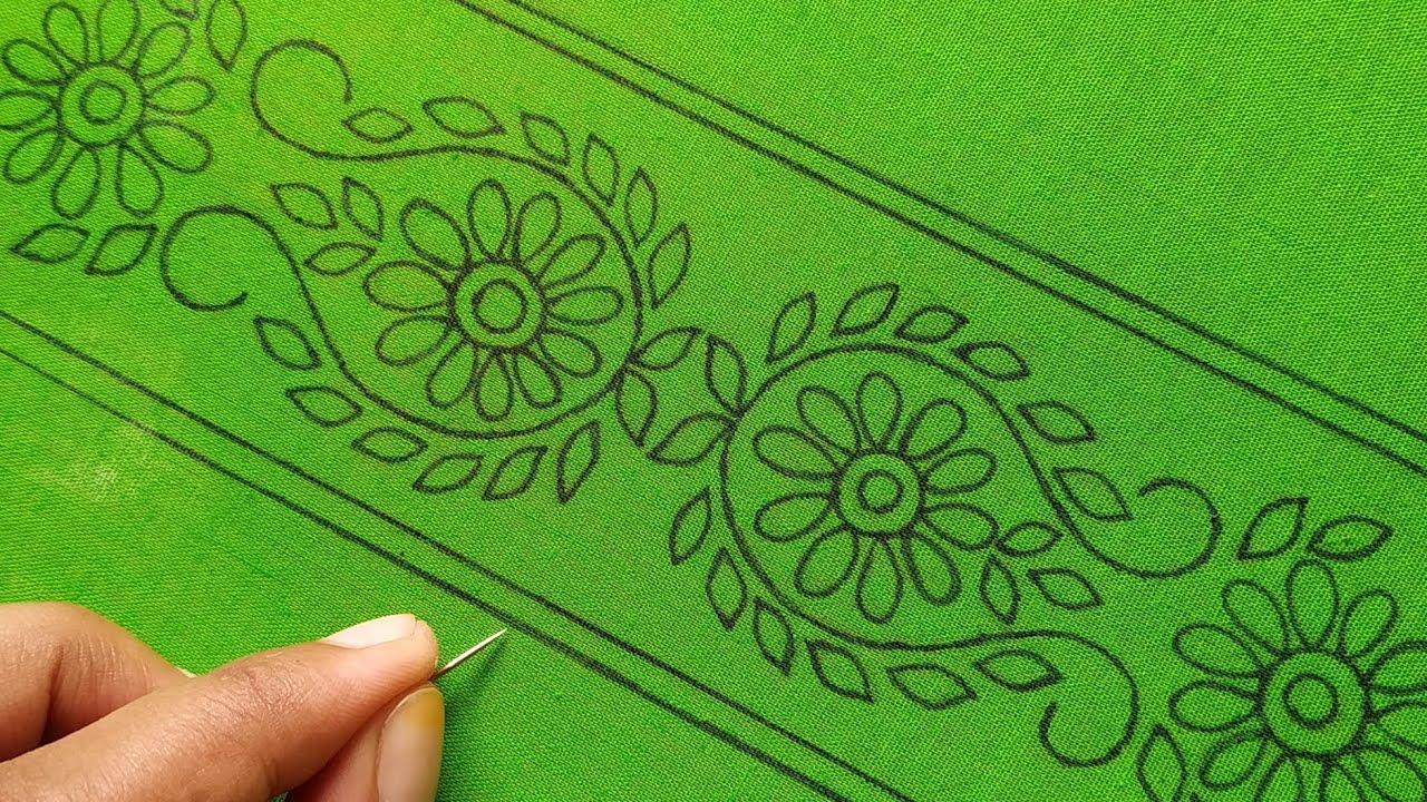 আধুনিক হাতের কাজের ফুল কারি বর্ডারলাইন,hand embroidery border design dress