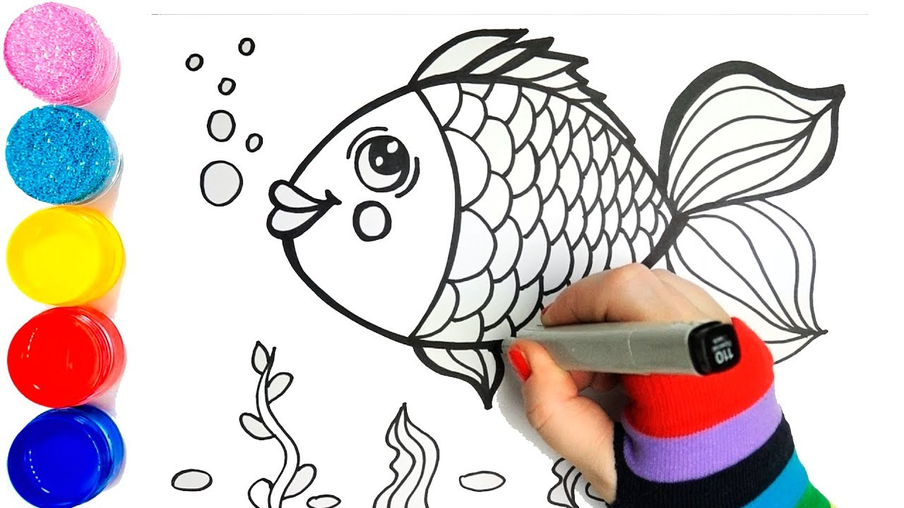 Draw Cute Fish with Glitter Bubbles coloring and drawing ...