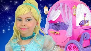 Kids Makeup Cinderella Disney Princess Alisa Pretend Play with Toys & Real Princess Dress & Costume