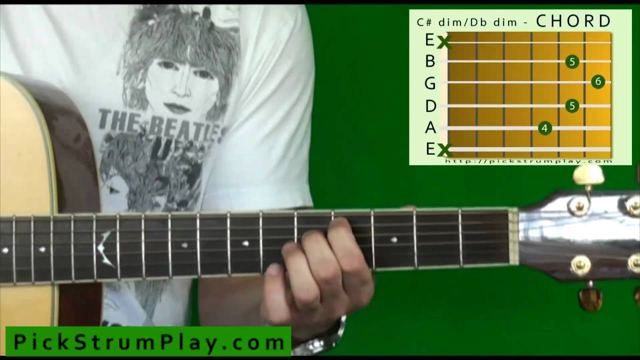 How To Play A C Sharp Dim D Flat Dim Chord On Guitar Youtube